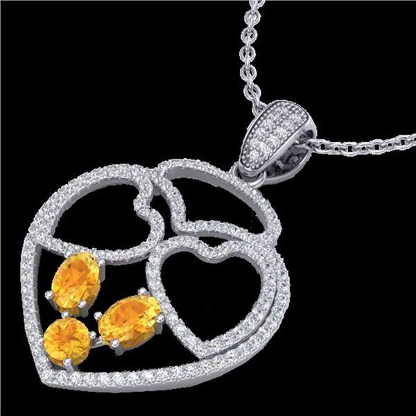 3 ctw Citrine & Micro Pave Designer Heart Necklace 14k White Gold - REF-134H5R