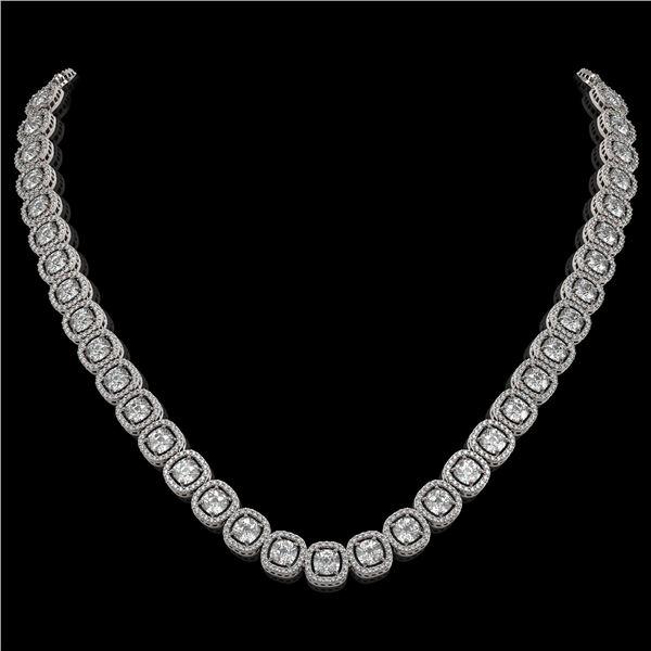 32.64 ctw Cushion Cut Diamond Micro Pave Necklace 18K White Gold - REF-4475W8H