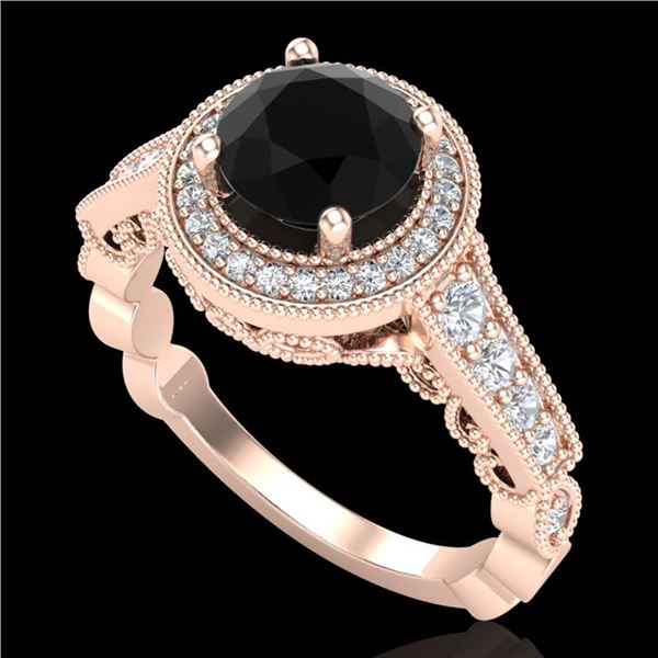 1.91 ctw Fancy Black Diamond Engagment Art Deco Ring 18k Rose Gold - REF-130W9H
