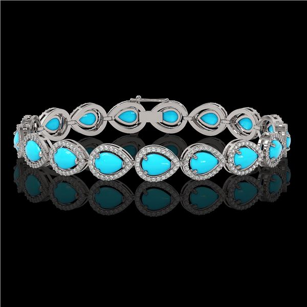 13.19 ctw Turquoise & Diamond Micro Pave Halo Bracelet 10k White Gold - REF-305G8W