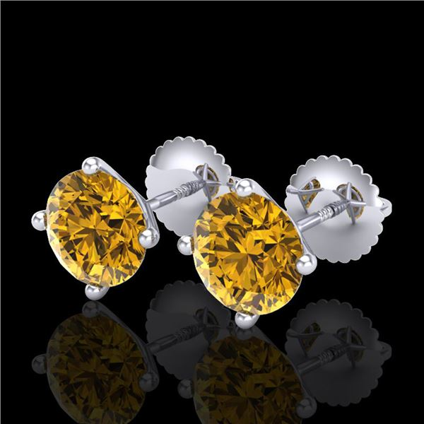 2.5 ctw Intense Fancy Yellow Diamond Art Deco Earrings 18k White Gold - REF-265R9K