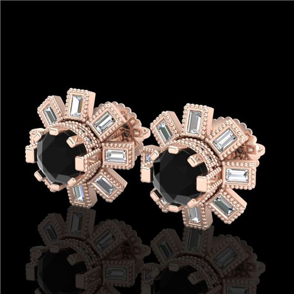 1.77 ctw Fancy Black Diamond Art Deco Stud Earrings 18k Rose Gold - REF-118Y2X
