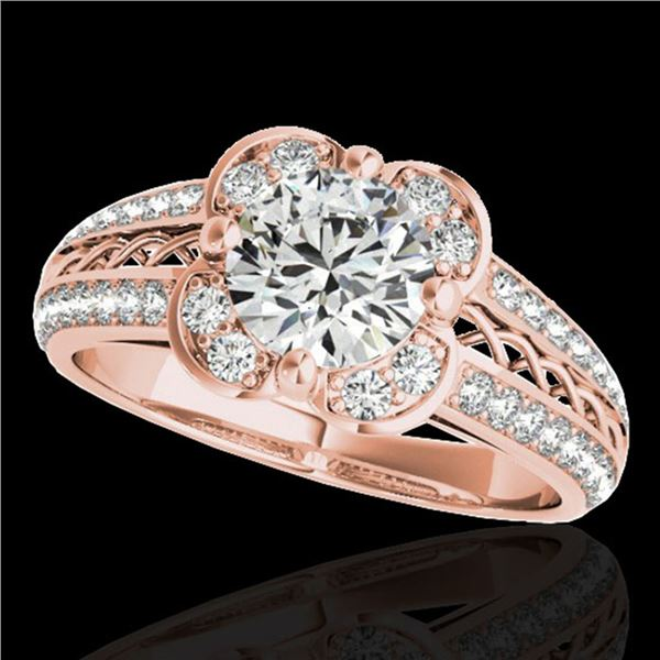 1.5 ctw Certified Diamond Solitaire Halo Ring 10k Rose Gold - REF-190N9F