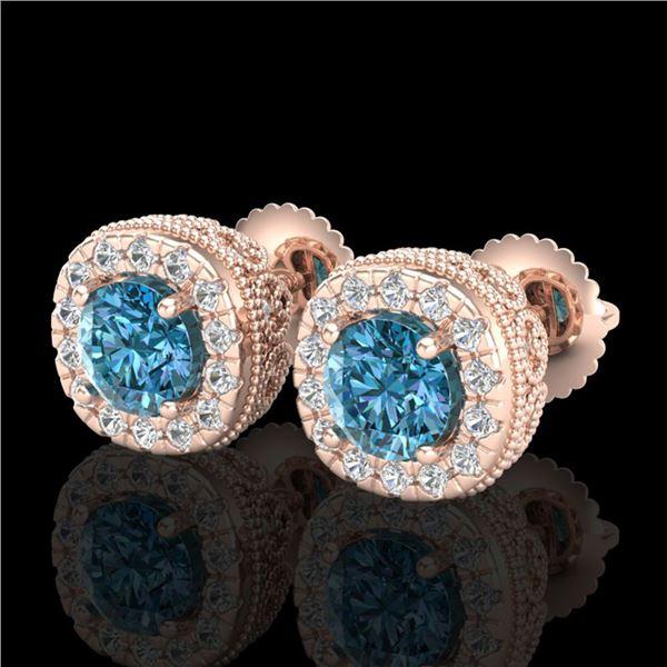 1.69 ctw Fancy Intense Blue Diamond Art Deco Earrings 18k Rose Gold - REF-176X4A