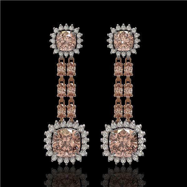 17.42 ctw Morganite & Diamond Earrings 14K Rose Gold - REF-431R3K