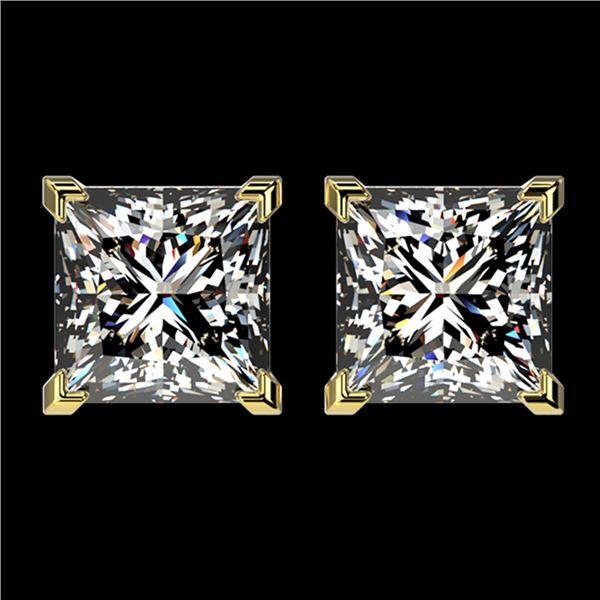 2.50 ctw VS/SI Quality Princess Diamond Stud Earrings 10k Yellow Gold - REF-601R4K
