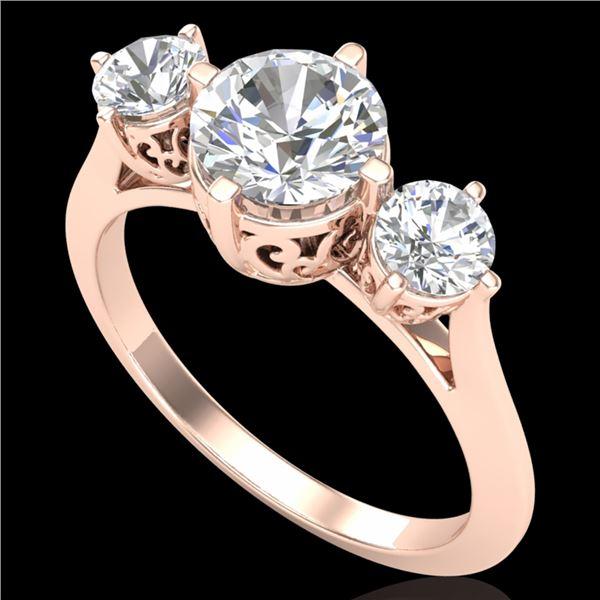 1.51 ctw VS/SI Diamond Solitaire Art Deco 3 Stone Ring 18k Rose Gold - REF-427F3M