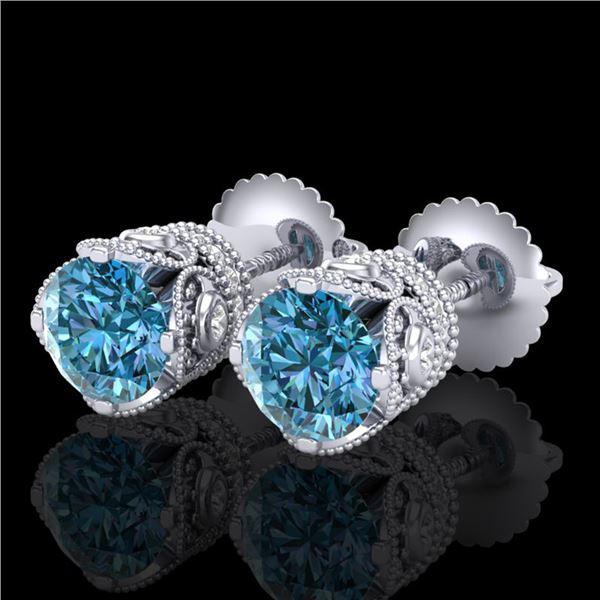 1.85 ctw Fancy Intense Blue Diamond Art Deco Earrings 18k White Gold - REF-200F2M
