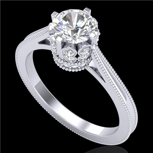 1.14 ctw VS/SI Diamond Art Deco Ring 18k White Gold - REF-220R5K