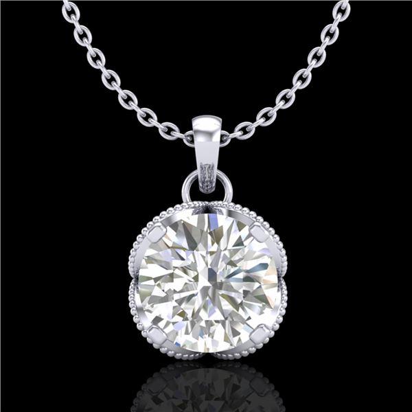 1.13 ctw VS/SI Diamond Solitaire Art Deco Stud Necklace 18k White Gold - REF-217F3M