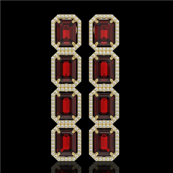 17.8 ctw Garnet & Diamond Micro Pave Halo Earrings 10k Yellow Gold - REF-174A2N
