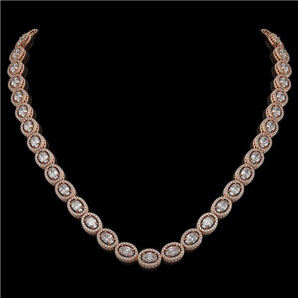 30.41 ctw Oval Cut Diamond Micro Pave Necklace 18K Rose Gold - REF-4148W9H