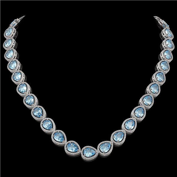 41.6 ctw Aquamarine & Diamond Micro Pave Halo Necklace 10k White Gold - REF-896A4N