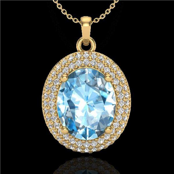5 ctw Sky Blue Topaz & Micro Pave Diamond Necklace 18k Yellow Gold - REF-92X5A