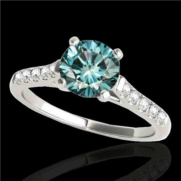 1.2 ctw SI Certified Fancy Blue Diamond Solitaire Ring 10k White Gold - REF-122F8M