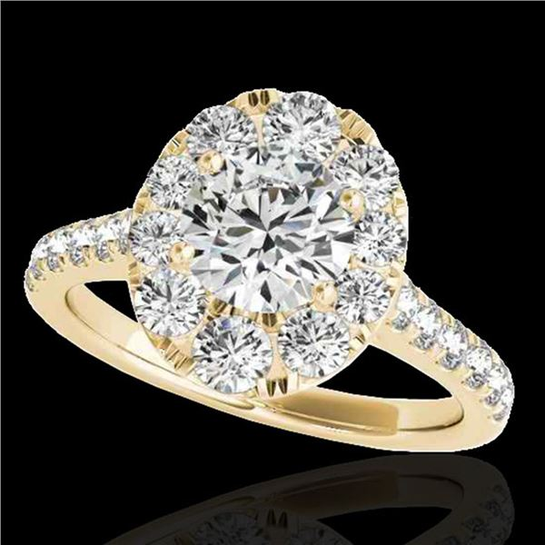 2 ctw Certified Diamond Solitaire Halo Ring 10k Yellow Gold - REF-229W3H