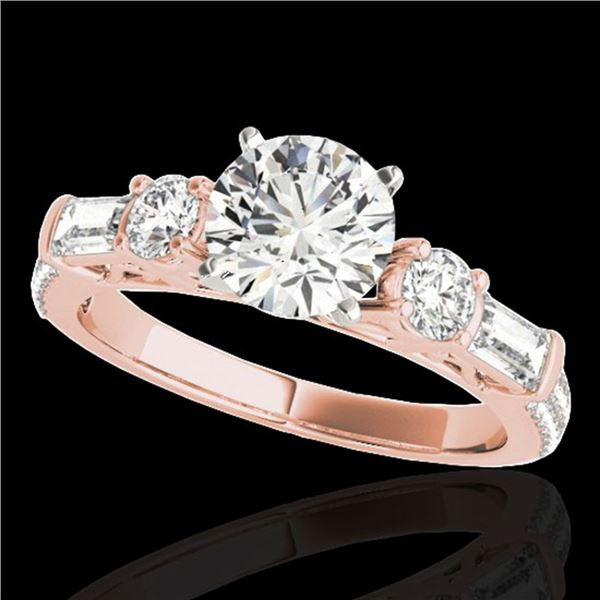 2.5 ctw Certified Diamond Pave Solitaire Ring 10k Rose Gold - REF-381R8K