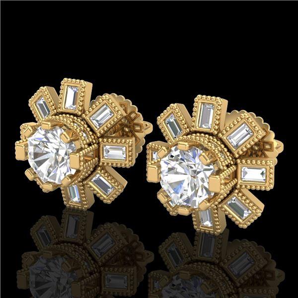 1.77 ctw VS/SI Diamond Solitaire Art Deco Stud Earrings 18k Yellow Gold - REF-263A6N