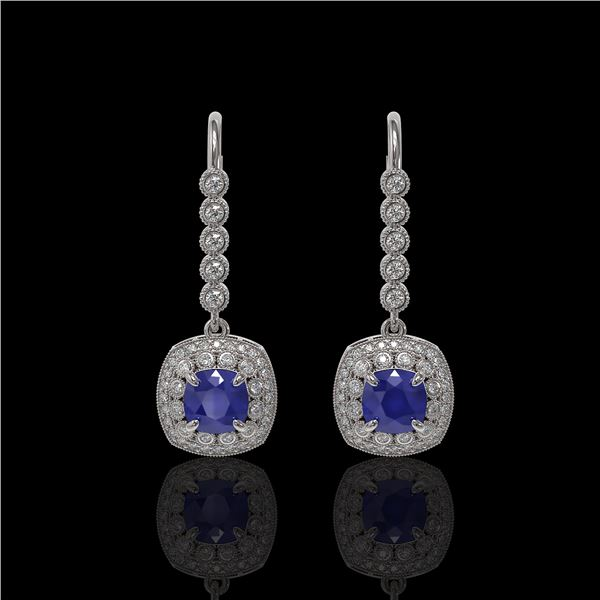 5.1 ctw Certified Sapphire & Diamond Victorian Earrings 14K White Gold - REF-172M8G