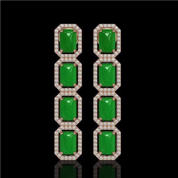11.93 ctw Jade & Diamond Micro Pave Halo Earrings 10k Rose Gold - REF-146A4N