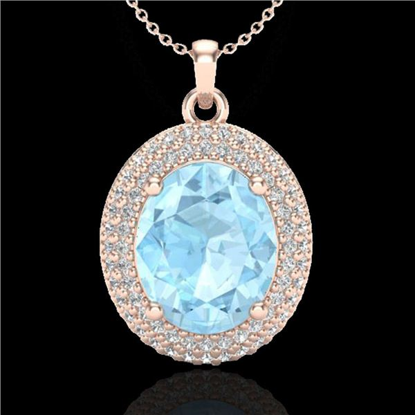 4 ctw Aquamarine & Micro Pave VS/SI Diamond Necklace 14k Rose Gold - REF-121K3Y