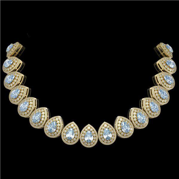 92.83 ctw Aquamarine & Diamond Victorian Necklace 14K Yellow Gold - REF-3851W5H
