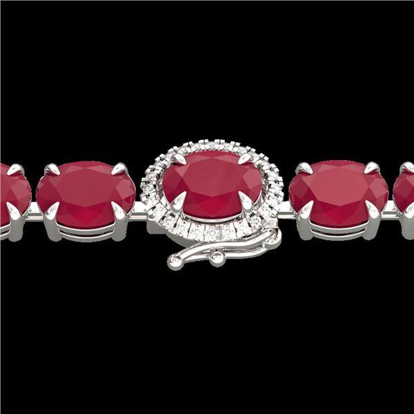 37 ctw Ruby & VS/SI Diamond Eternity Micro Bracelet 14k White Gold - REF-236H4R