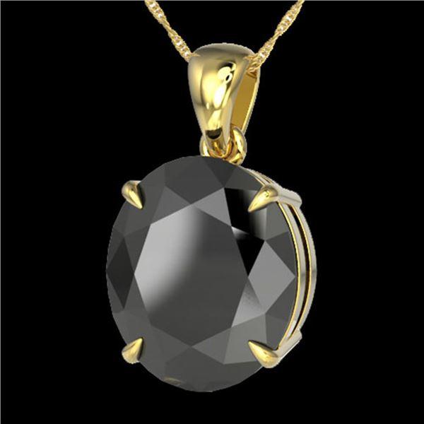 9 ctw Black Diamond Certified Designer Necklace 18k Yellow Gold - REF-272X8A