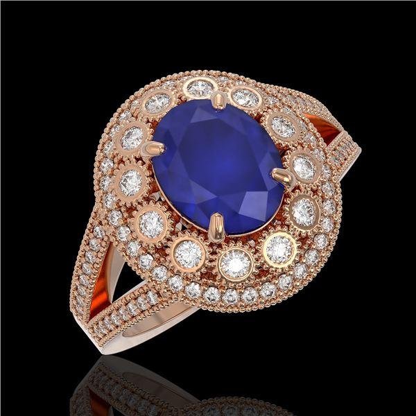 4.55 ctw Certified Sapphire & Diamond Victorian Ring 14K Rose Gold - REF-143H6R