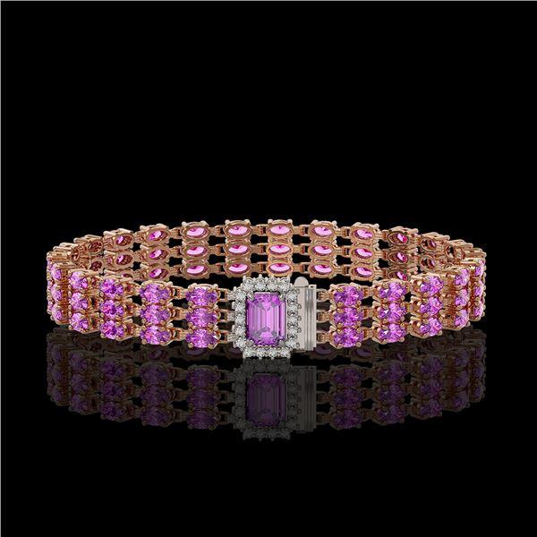 20.93 ctw Amethyst & Diamond Bracelet 14K Rose Gold - REF-318N2F