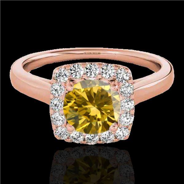 1.37 ctw Certified SI/I Fancy Intense Yellow Diamond Ring 10k Rose Gold - REF-197R8K