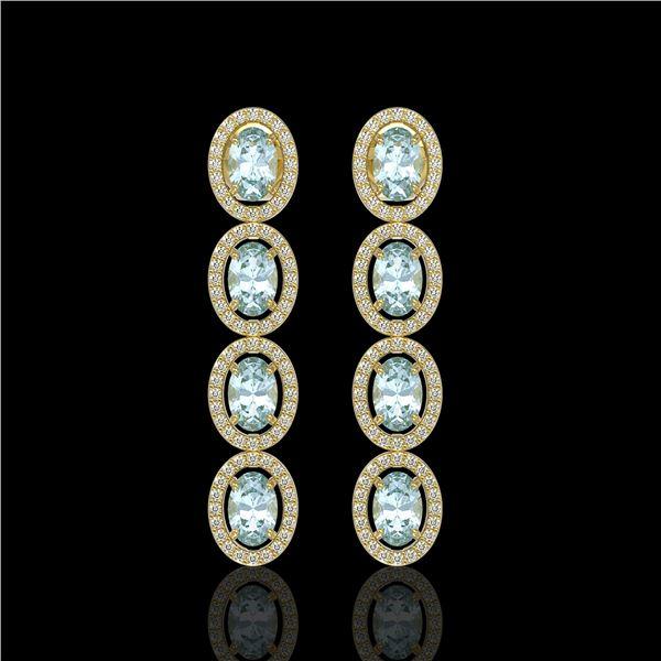 4.68 ctw Aquamarine & Diamond Micro Pave Halo Earrings 10k Yellow Gold - REF-143N6F