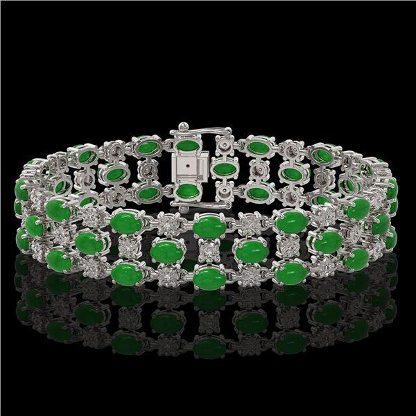 11.02 ctw Jade & Diamond Row Bracelet 10K White Gold - REF-209W3H