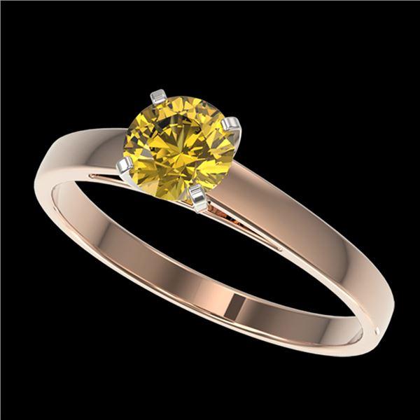0.74 ctw Certified Intense Yellow Diamond Engagment Ring 10k Rose Gold - REF-82G2W