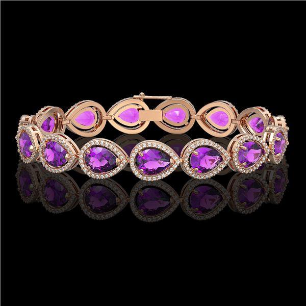 20.3 ctw Amethyst & Diamond Micro Pave Halo Bracelet 10k Rose Gold - REF-282F9M