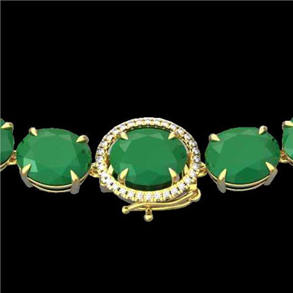170 ctw Emerald & VS/SI Diamond Halo Micro Necklace 14k Yellow Gold - REF-1545F5M