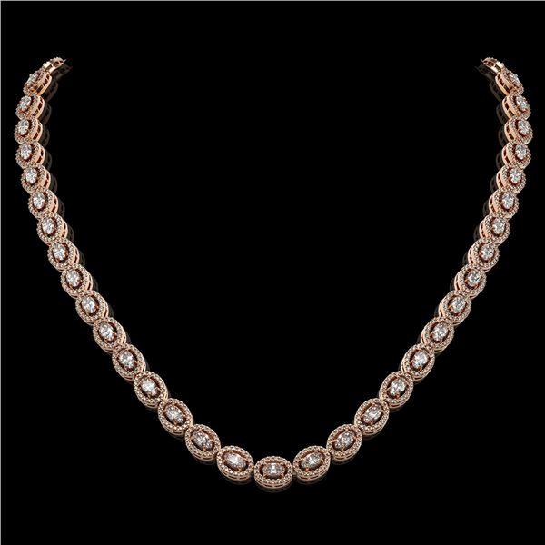 18.43 ctw Oval Cut Diamond Micro Pave Necklace 18K Rose Gold - REF-1596X8A