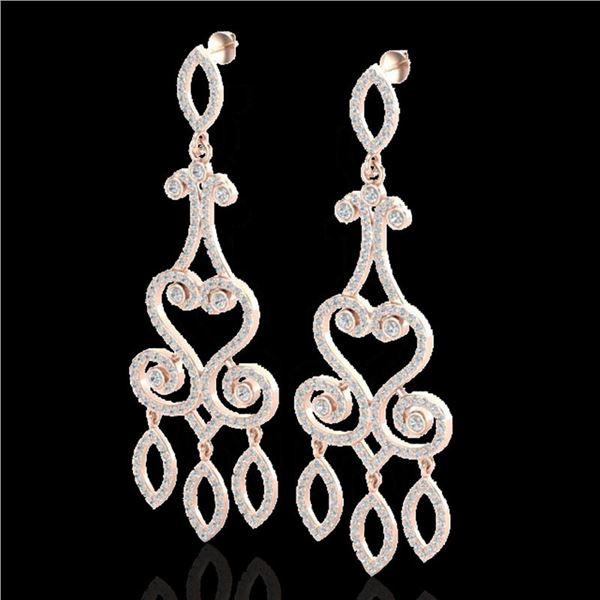 3.25 ctw VS/SI Diamond Micro Pave Designer Earrings 14k Rose Gold - REF-318H2R