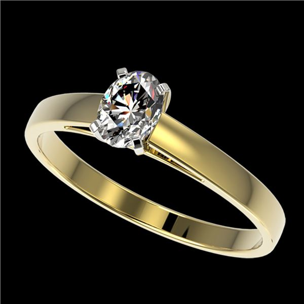 0.50 ctw Certified VS/SI Quality Oval Diamond Engagment Ring 10k Yellow Gold - REF-60N3F