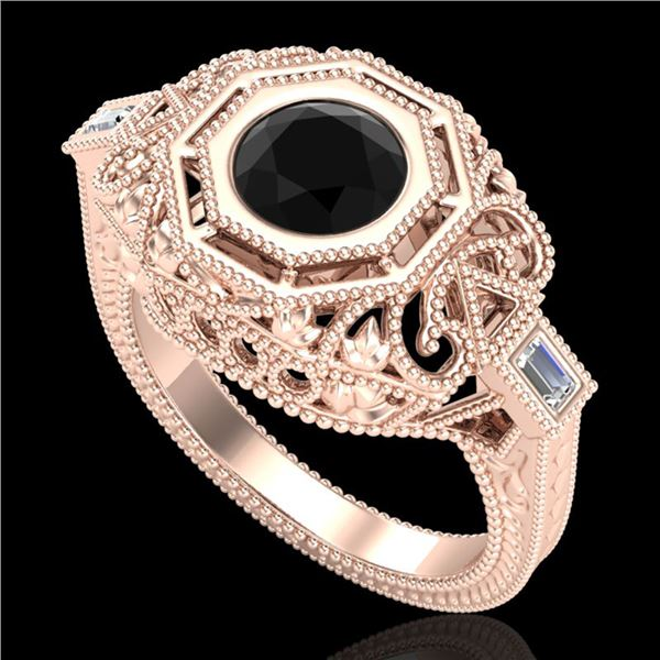 1.13 ctw Fancy Black Diamond Engagment Art Deco Ring 18k Rose Gold - REF-140X2A
