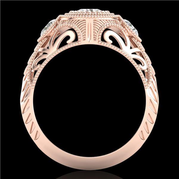 1.06 ctw VS/SI Diamond Solitaire Art Deco 3 Stone Ring 18k Rose Gold - REF-180Y2X