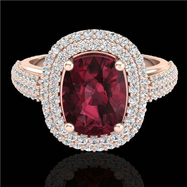 3.10 ctw Garnet & Micro Pave VS/SI Diamond Certified Ring 10k Rose Gold - REF-100X2A