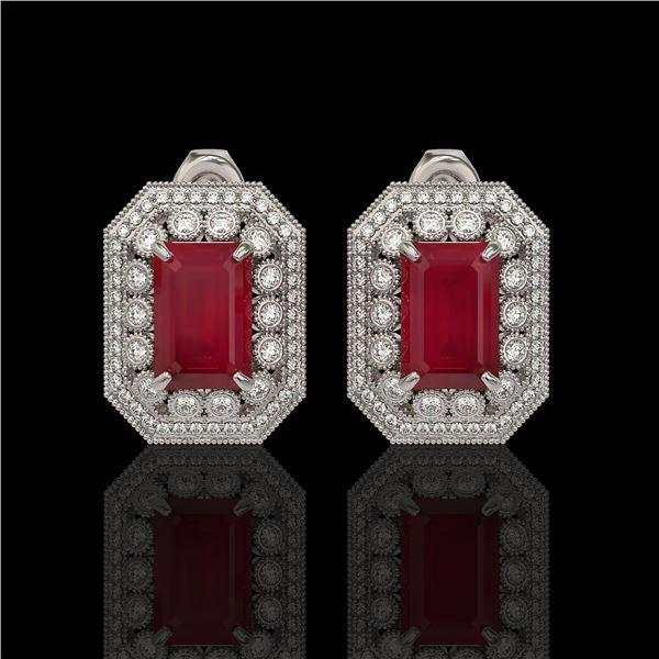 13.75 ctw Certified Ruby & Diamond Victorian Earrings 14K White Gold - REF-266W4H