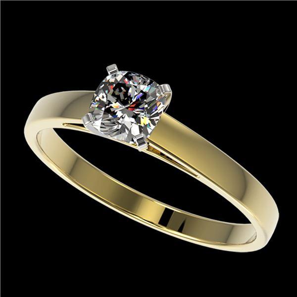 0.50 ctw Certified VS/SI Quality Cushion Cut Diamond Ring 10k Yellow Gold - REF-60Y3X
