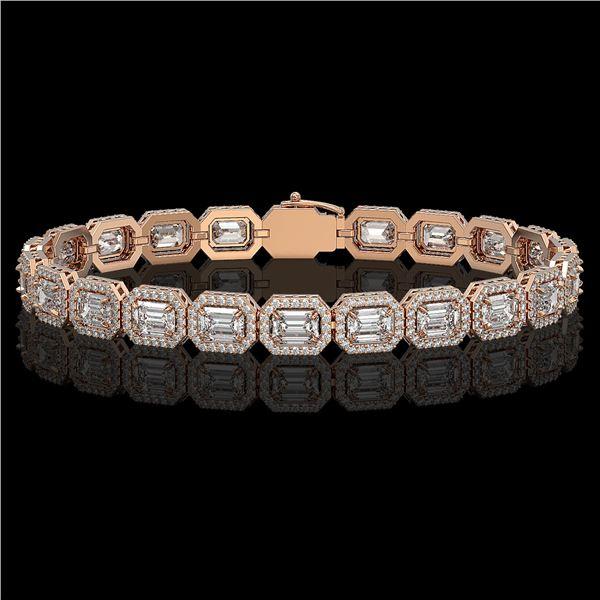 14.57 ctw Emerald Cut Diamond Micro Pave Bracelet 18K Rose Gold - REF-2284K2Y