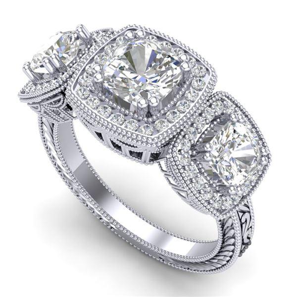 2.75 ctw Cushion VS/SI Diamond Art Deco 3 Stone Ring 18k White Gold - REF-609G3W