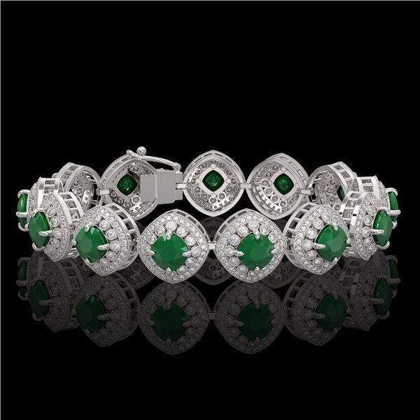 37.35 ctw Emerald & Diamond Victorian Bracelet 14K White Gold - REF-956G8W