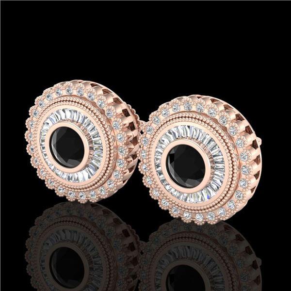 2.61 ctw Fancy Black Diamond Art Deco Stud Earrings 18k Rose Gold - REF-236M4G
