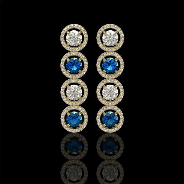5.42 ctw Blue & Diamond Micro Pave Earrings 18K Yellow Gold - REF-513X8A