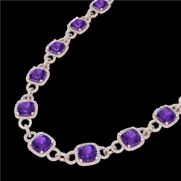 66 ctw Amethyst & Micro VS/SI Diamond Eternity Necklace 14k Rose Gold - REF-881G8W